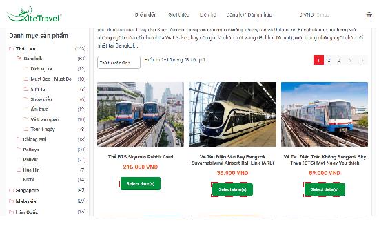 Hướng dẫn đặt vé tham quan thái lan trên trang Kite Travel